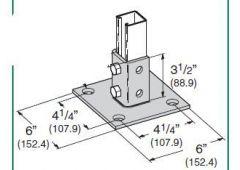 4-Hole Square Post Base HDG